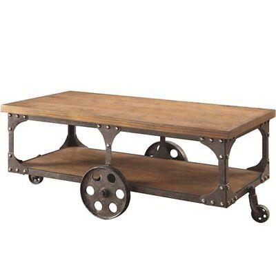 تربيزه جديد Coaster Industrial Modern Coffee Table in Rustic Brown