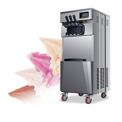 Fda 20lh 1850w Stand Commercial Three Flavors Ice Cream Machine Stainless Steel