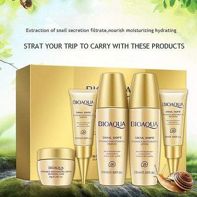 5pcs/Set Anti-aging Snail Essence Moisturizing Eye Face Cream BB Cream Skin Care