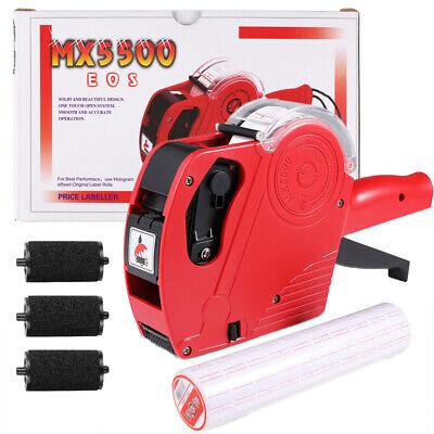 Mx-5500 8 Digits Eos Price Tag Gun 3 Rolls White W Lines Sticker Labels Ink