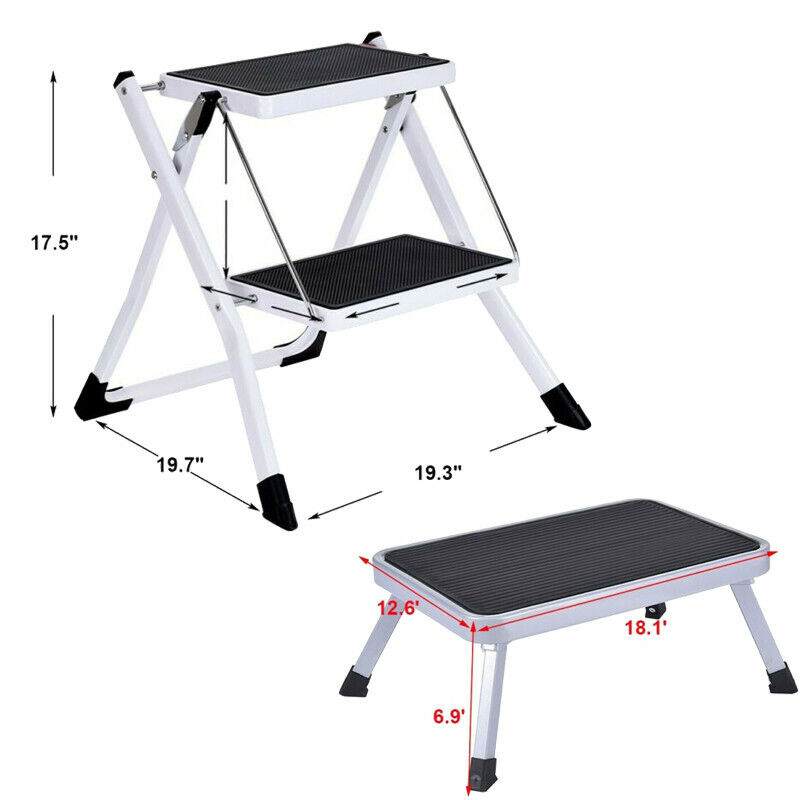1-2 Step Ladder Folding Step Stool Steel Ladder Sturdy & Wid