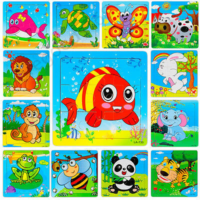 Puzzles For Kids (Animals Wooden 9 Pieces Colorful Jigsaw Puzzle Educational Toy For Toddler)
