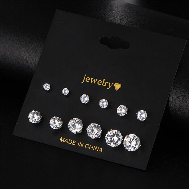 Fashion Women 6 Pairs Silver Crystal Rhinestone Earrings Set