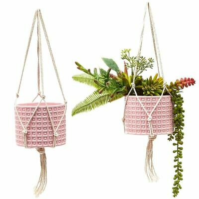 2x Hanging Succulent Planter Pots Round Ceramic For Flower Pink , 4.5 X 3.8 Inch