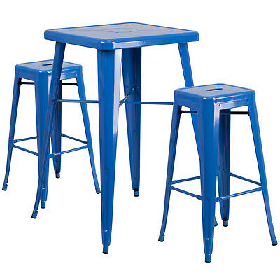 23.75 Industrial Restaurant Table Set In Blue Metal Wbar Table 2 Stools