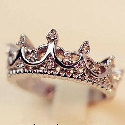 Fashion Princess Women Silver Rhinestone Crown Ring Size 7 8 9 New