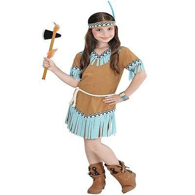 3 tlg. Indianerin Squaw Mädchen Kostüm Apache Kinder camel 104 116 128 140 158