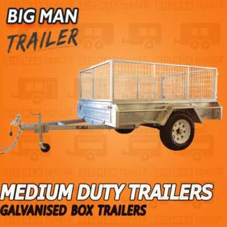 7FtX4Ft Galvanized Single Axle Trailers With Cage 750ATM