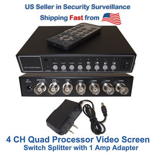 4-Channel-4-CH-Quad-Processor-Video-Screen-Switch-Splitter-with-1-Amp-Adapter