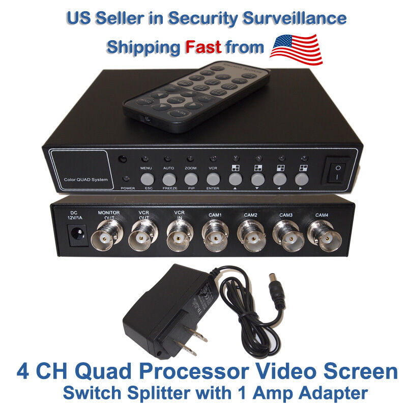 4 Channel 4 CH Quad Processor CCTV Security Camera Video Screen Splitter Switch