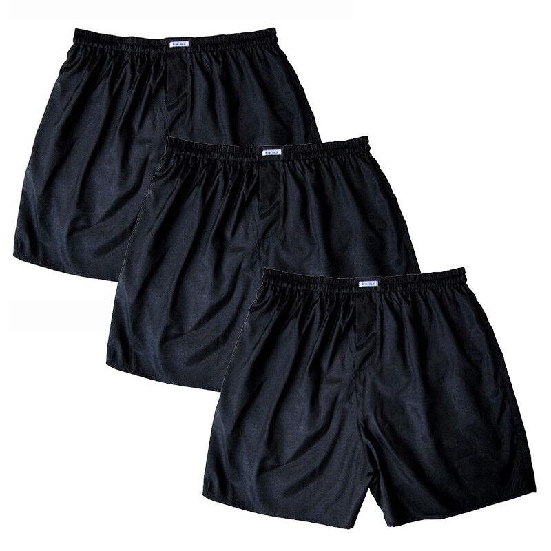 3 or 5 Pairs Black Underwear Size M L XL 2XL Lot Mens Thai Silk Boxer Shorts 1