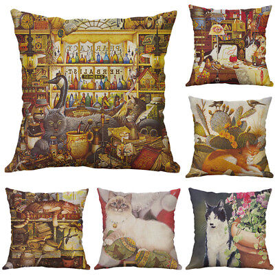 best new Vintage Cat Cotton Linen Pillow Case Throw Cushion Cover for Home (Best Cover For Holidays)