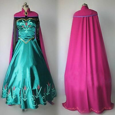 Princess Adult Halloween Costumes (USA Adult Princess Anna Cosplay Costume Halloween Fancy Stage Dress Outfit)