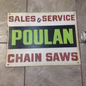 Vintage Metal Poulenc Chain Saws Sign