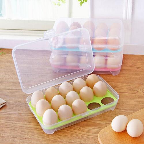 Portable 15 Egg Holder Case Box Refrigerator Crisper Contain