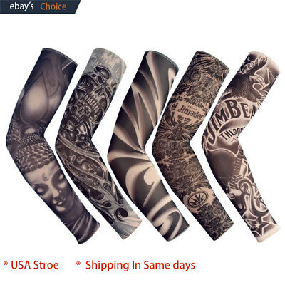 6 pcs Tattoos Cooling Arm Sleeves Cover UV Sun Protection Basketball Golf Sport