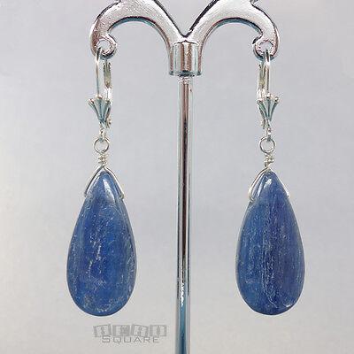 Sterling Silver Blue Kyanite Flat Teardrop Pear Dangle Lever Back Earrings 35029