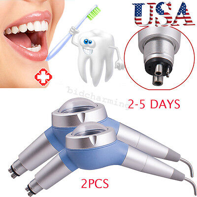 2x Dental Hygiene Blue Jet Air Polisher System Tooth Polishing Handpiece 4 Hole