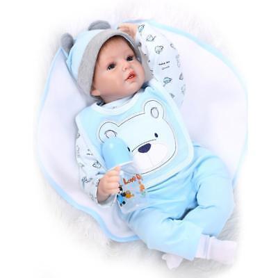 Nicery Renacido muñeca silicona suave 22inch juguete realista oso azul babero, usado segunda mano  Embacar hacia Argentina