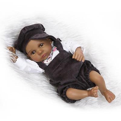 Full Body Handmade Reborn Black Baby Boy Doll Newborn Lifelike Silicone Vinyl