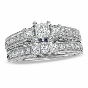#1651 Vera Wang Love Collection 1.95 CT. T.W. Princess-Cut Diamond Three Stone Bridal Set in 14K White Gold Size 6 1/2