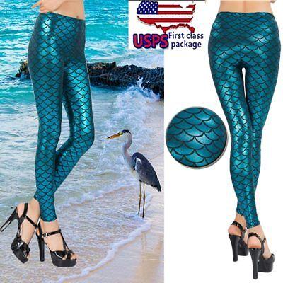 Hot Shiny Mermaid Stretch Pants Metallic Shimmer Fish Scale Leggings Women Beach](Mermaid Pants)