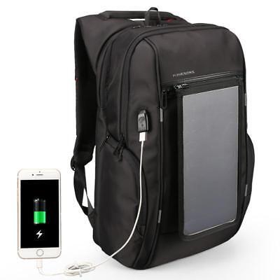 "15.6"" Mochila Solar Power Charger Backpack for Men Anti-theft Travel Laptop Bag"