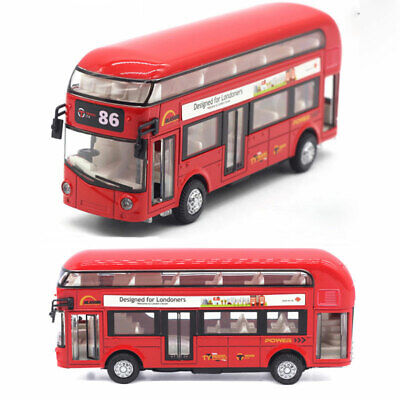London Bus Double Decker Bus Model Car Diecast Toy Vehicle Sound Light Red Kids