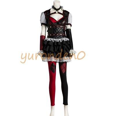 Batman Arkham Asylum Harley Quinn Dress Costume Cosplay Halloween Uniform Suit