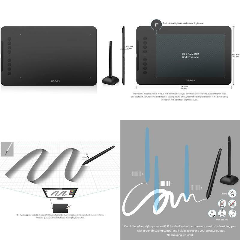 XP-Pen Deco 01 V2 10x6.25 Inch Digital Graphics Drawing Tabl