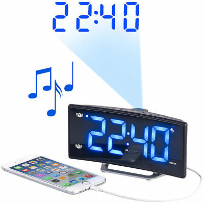 auvisio Projektions-Radiowecker mit Curved-Display, Dual-Alarm & USB-Ladeport