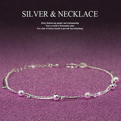 Girl Women 925 Sterling Silver Crystal Chain Bangle Cuff Charm Bracelet Jewelry