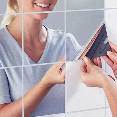 9pcs Square Mirrors Tiles Stickers Self Adhesive 3D Wall Mural Decal Decor RR, usado segunda mano  Embacar hacia Spain
