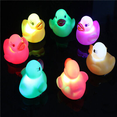 1pc Water-sensing Duck Baby Light Up Floating Swimming Toys Christmas Gifts Cute