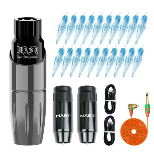 Black Mast Tour Wireless Tattoo Kit with Replacement Battery WJX Cartridges Set