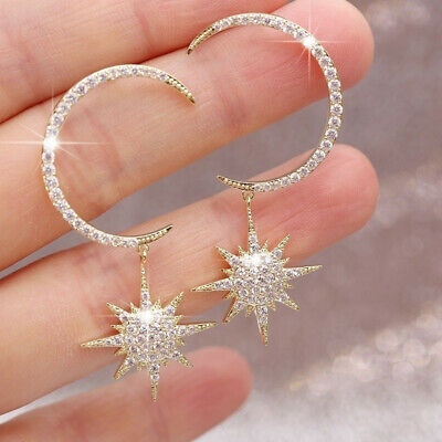 Gorgeous Moon Star 925 Silver Gold White Sapphire Party Wedding Earrings - Party Jewelry