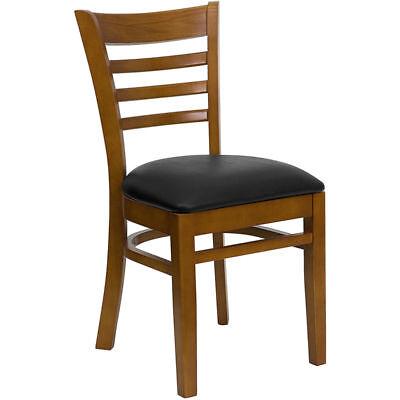 20 Wood Frame Cherry Finish Ladder Back Restaurant Chairs W Black Vinyl Seat