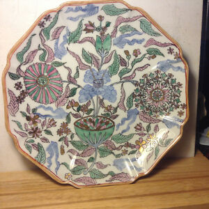 Large Chinese Antiques   Plate  Flower Basket