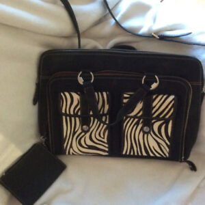 """""""Enzo Angiolini"""" Leather Briefcase /Purse with Zebra details"""
