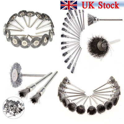 45 x Stainless Steel Wire Cup Mix Brush Set Fits Dremel Rotary Tool Accessory UK
