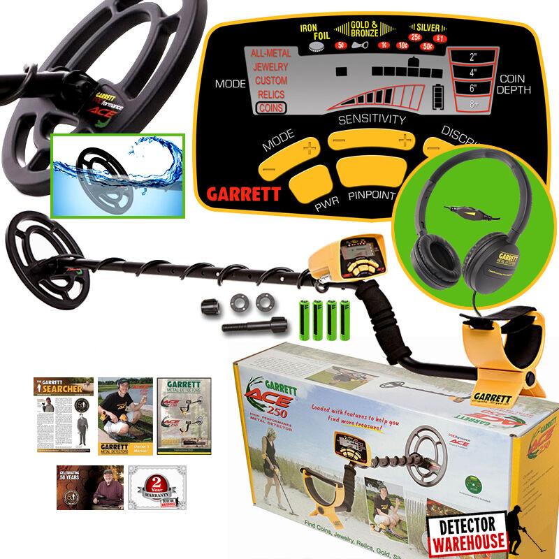Garrett Ace 250 Metal Detector w/ WaterProof Coil and ClearS