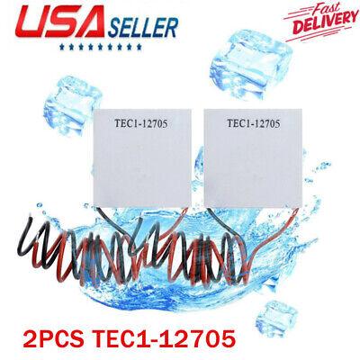 2pcs Tec1-12705 Heatsink Thermoelectric Cooler Peltier Plate Module Usa 12v.