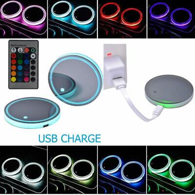 2stk 7 Farben LED Cup Holder Coaster Solar Powered Car SUV Bottom Pad Mat Lamp - Car Coaster