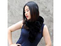 DAYMISFURRY--New Knit Rex Rabbit Scarf In Black