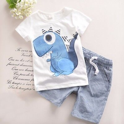 Toddler Boy Kids 2PCS Outfits Dinosaur T-shirt+Striped Shorts Casual Clothes Set - Childrens Dinosaur Outfit