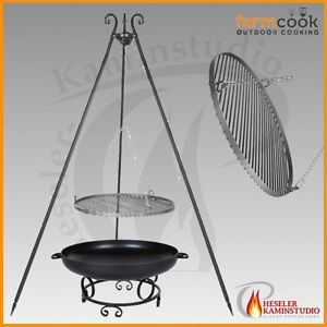 feuerschale pan 43 senotherm schwarz 80 cm dreibein schwenkgrill in rohstahl ebay. Black Bedroom Furniture Sets. Home Design Ideas
