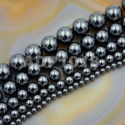 Natural Black MAGNETIC Hematite Gemstones Round Beads16'' 4mm 6mm 8mm 10mm -