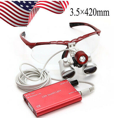 3.5x 420mm Dental Binocular Loupes Optical Glass Led Headlight Dentist Surgery