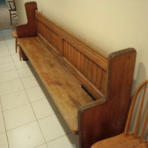 Antique Oak Church Pew Bench