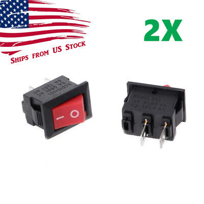 2pcs Mini Rocker Switch 2 Pin On-off Spst 125vac6a 250vac3a Red Kcd11 Us